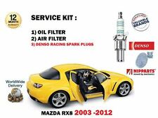 FOR MAZDA RX8 1.3 13B 2003-2012 4 DENSO SPARK PLUGS & OIL AIR FILTER SERVICE KIT