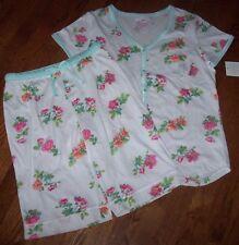 NWT Carole Hochman White/Aqua/Pink FLORAL Knit Pajamas BERMUDA Shorts/Top Set L