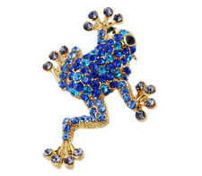 V.G Gold Plated Brooches Pins Rhinestone Crystal Frog Club Jewellery Blue Gifts