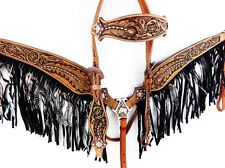 LEAF TOOLED WESTERN LEATHER HORSE FRINGE BRIDLE HEADSTALL BREASTCOLLAR TACK SET