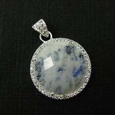 Sterling Silver Round Bezel Moonstone Gemstone Pave Cubic Zirconia Pendant