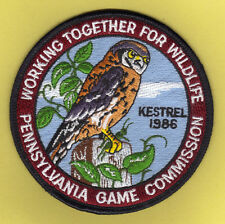 "Pa Penna Pennsylvania Game Commission NEW Unused 4"" 1986 WTFW Kestrel Patch"