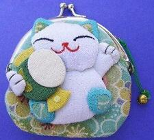 Japanese Maneki Neko Lucky Cat Coin Purse Bag #22408-7