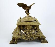 """Antique Brass Inkwell Eagle Finial Victorian Style English 8"""" Square Base 1911"""