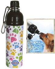 Pet Water Bottle - Puppy Paws Patten (24 oz) - Dog Water Bottle