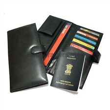 Premium Leatherette Unisex Travel Wallet, Passport Holder & Organizer- Black N8