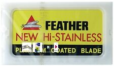 10 FEATHER Hi-Stainless Platinum Coated Double Edge Razor Blades - Made in Japan