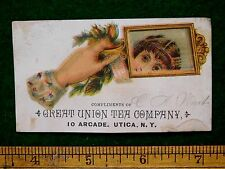 1870s-80s Great Union Tea Co. Coffees Hand With Mirror Victorian Trade Card F32