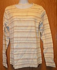 Womens Off White Beige Striped North Crest Long Sleeve Shirt Size Small NEW
