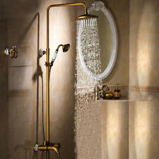"Antique Brass Bathroom Shower Set Faucet 8""Rain Shower Head Ceramic Handshower"