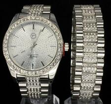Imperial Bling Silver Tone CZ Icy Techno Pave Hip Hop Mens Watch Bracelet Combo