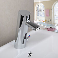 Auto Chrome Automatic Hands Touch Free Sensor Faucet Bathroom Sink Mixer Tap
