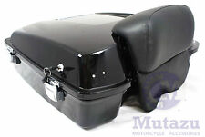 Vivid Black Razor Tour Pak with Chopped Backrest for Harley Touring FLH FLT FLTR