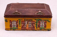 Rare French vintage Treets house pattern sweet or biscuit tin.