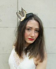 Black Gold Ivory Pheasant Feather Birdcage Veil Fascinator Headpiece Vintage U62