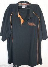 Harley Davidson Black Orange Stuart Florida Bike Biker Polo Rugby Shirt Men's L