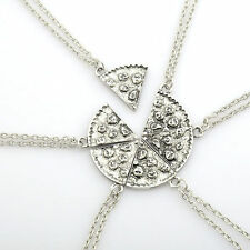 BEST FRIENDS 6 Pcs Set Slice Pizza Charm Pendant Chain Necklace Friendship BFF