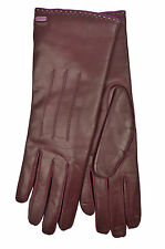 [83 11] COACH NWT WOMEN 83875 BORDEAUX RED GENUINE LEATHER CASHMERE GLOVES 6.5