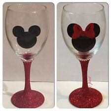 Disney Minnie Micky Mouse Glitter Wine Glass Set Gift Personalised With Name