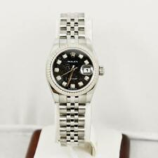 Rolex Ladys Datejust Model 179174 Black Anniversary Dial & 18k Fluted Bezel