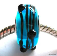 'CONTEMPO' Blue/Black Lines Murano Glass European Charm Bead-S'gle Core