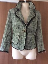 River Island Green Tweed Jacket With Stunning Diamanté Button Fastening. SIZE 14