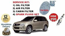 FOR SUZUKI GRAND VITARA 2.4 2008  SERVICE OIL AIR CABIN FILTER + SPARK PLUGS SET