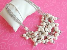 Brighton Necklace Pearl Silver Pearlious bubbling beading NWOT Rare