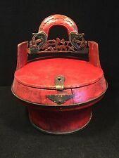 19th C. Antique Carved Wood Asian Chinese Wedding Basket Dowry Food Staved Box