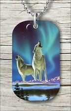 WOLF COUPLE NORTHERN AURORA BOREALIS DOG TAG NECKLACE rf54