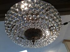 """Vintage Large 18"""" Crystal Brass Beaded 5 Light Chandelier Ceiling Fixture Italy"""