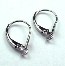 Solid 14K white gold open ring plane leverback earrings finding