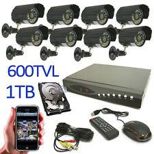 KIT VIDEOSORVEGLIANZA DVR 8 CANALI CH COMPLETO TELECAMERE 600 TVL IR HD 1 TB a