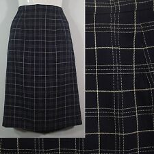 JH Collectibles Navy Blue Plaid Pencil Straight Career Skirt Kick Pleat size 4