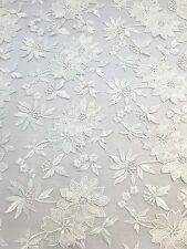 "White Embroidered Flower Lace 55"" Inches Wide Fabric Sold By The Yard"
