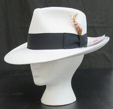 New Mens Small White Fedora Zoot Hat w/ Black Band Made in USA Gangster Costume