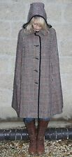 Vintage 1960s English Lady Houndstooth Check Retro Mod Hooded Wool Cape