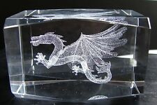 NEW 3D LASER ETCHED CRYSTAL GLASS TOWER PAPERWEIGHT DRAGON BEVELED EDGE 3x2x2