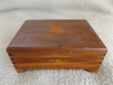 Vintage Wood Cedar Jewelry Trinket Box Dovetailed Hinged