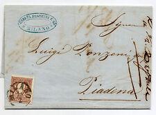 ANTICHI STATI 1859 LOMBARDO VENETO 10 SOLDI I° TIPO MILANO 25/2 N° RIF 9558