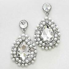 """Lovely Teardrop Crystal Imitation Pearl Wedding Fancy Chandelier Earrings 2 ¼"""" L"""