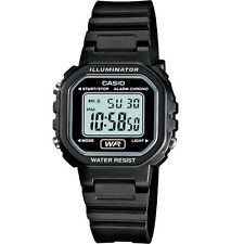 Casio LA20WH-1A, Digital Chronograph Watch, Black Resin Band, Alarm