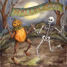 EHAG- Halloween Skeleton Pumpkin Watercolor PRINT painting Iva Wilcox -PFATT