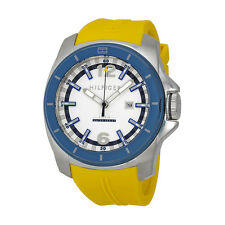 Tommy Hilfiger White and Navy Dial Yellow Rubber Mens Watch 1791115