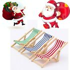 Dolls House Scale Miniature Foldable Wooden Deckchair Lounge Chair Decor Gift