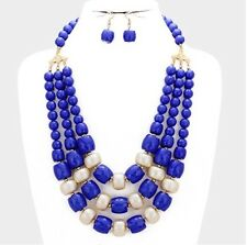 Chunky ROYAL BLUE Pearl Long Bib Multi Layered Strand Bead Necklace Set
