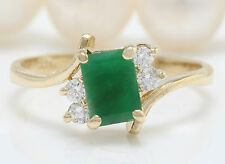 1.20CTW Natural Colombian Emerald and Diamonds in 14K Solid Yellow Gold Ring