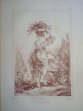 D'AP. F.BOUCHER 1703-1770 LITHO XIX° SANGUINE FEMME FLEUR ROMANTIQUE ROCOCO aj