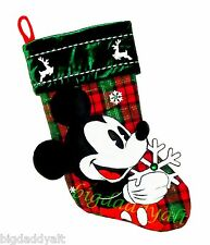 New Disney World Parks Mickey Mouse Plaid Snowflake Christmas Plush Stocking