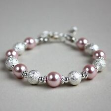 Silver stardust blush pink pearls beaded bracelet party wedding bridesmaid gift